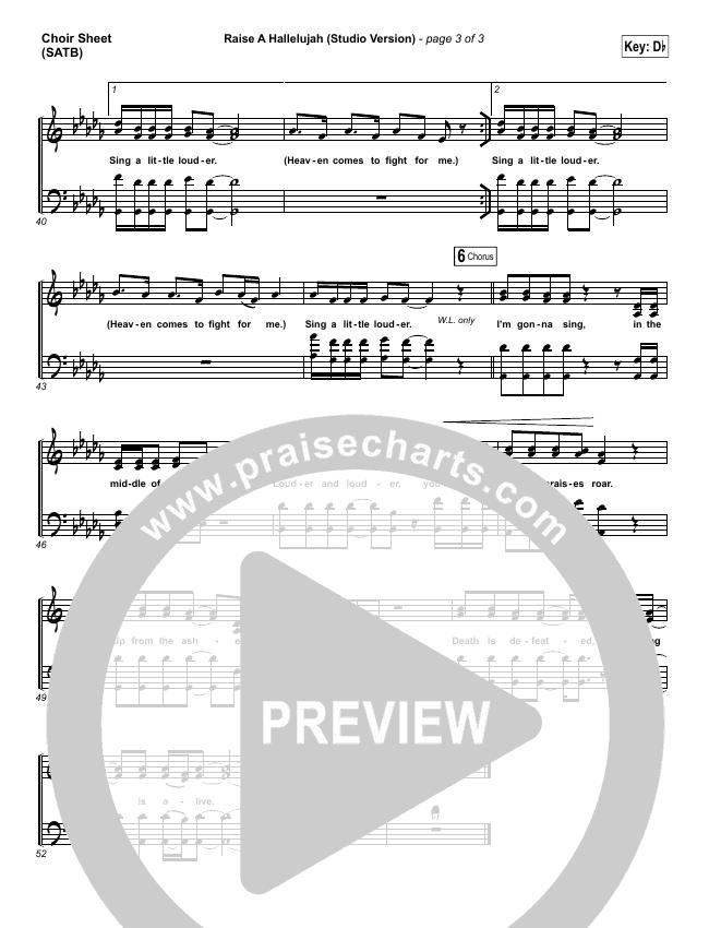 Raise A Hallelujah (Studio) Choir Sheet (SATB) (Bethel Music)