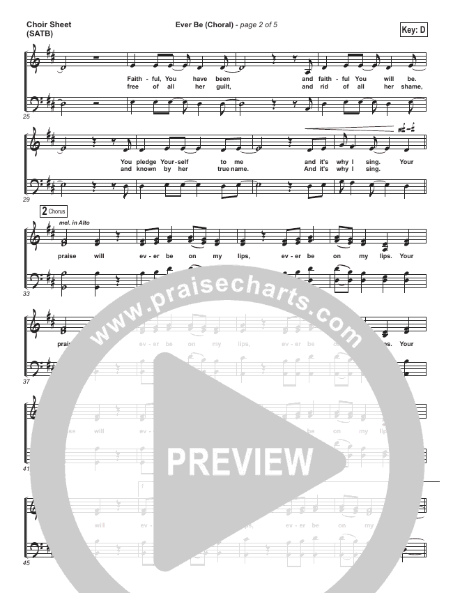 Ever Be (Choral) Choir Sheet (SATB) - Bethel Music, PraiseCharts