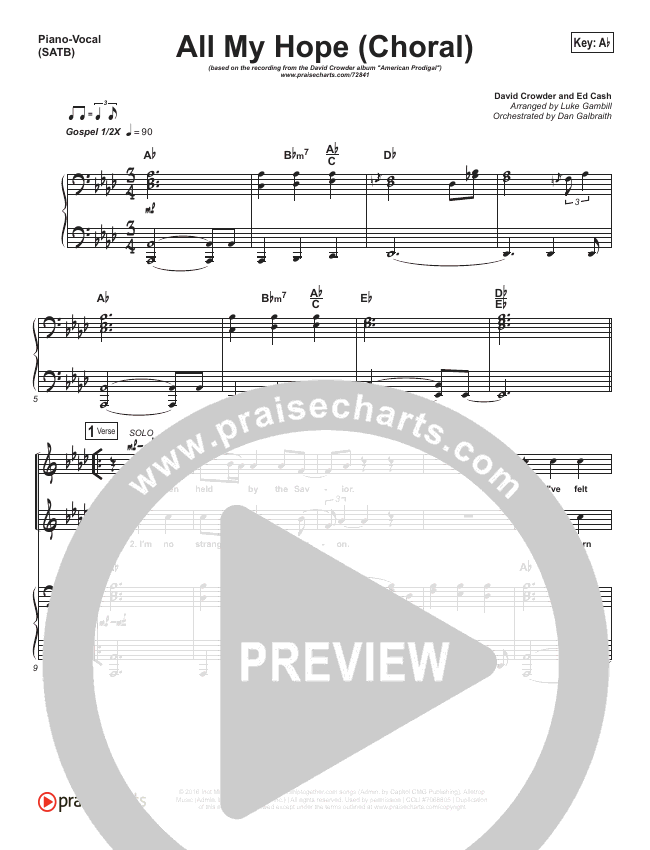 All My Hope (Choral) Orchestration (Crowder / PraiseCharts Choral)