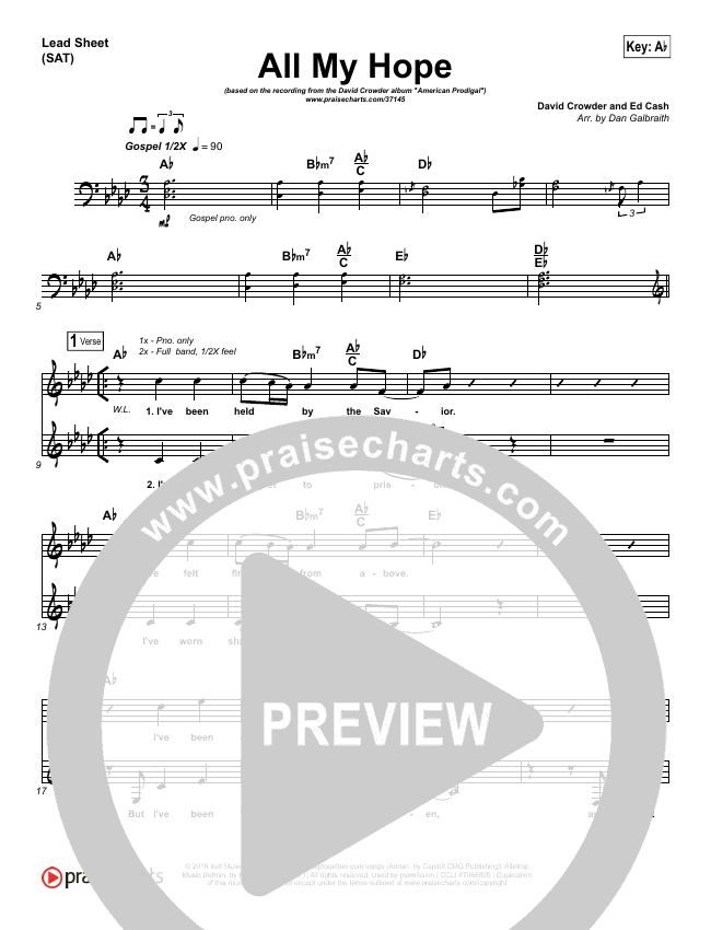 All My Hope (Choral) Lead & Piano/Vocal (Crowder / PraiseCharts Choral)