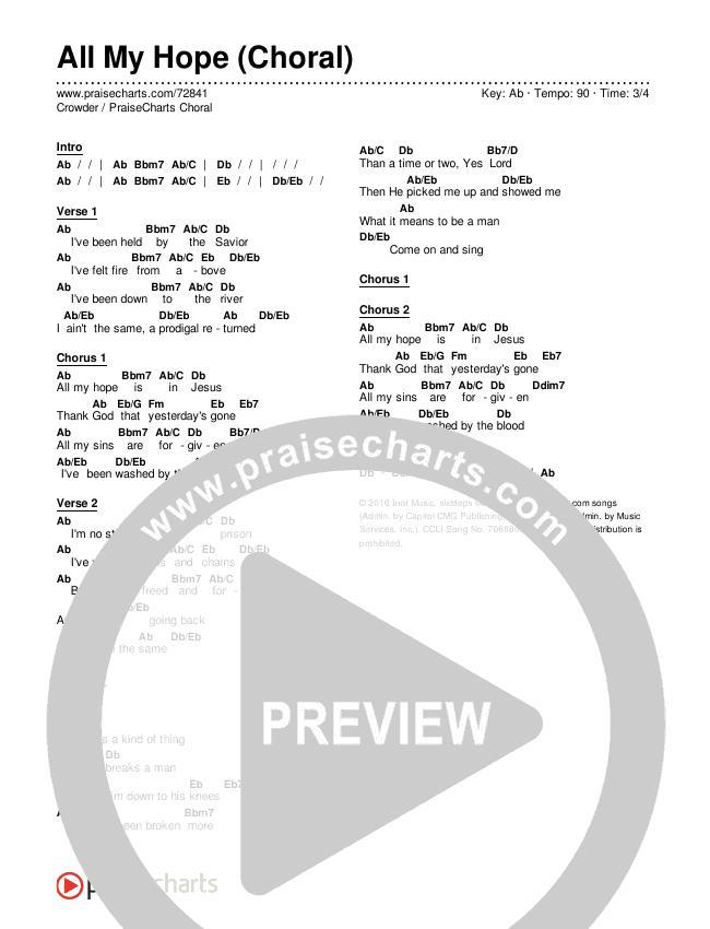 All My Hope (Choral) Chords & Lyrics (Crowder / PraiseCharts Choral / Arr. Luke Gambill)