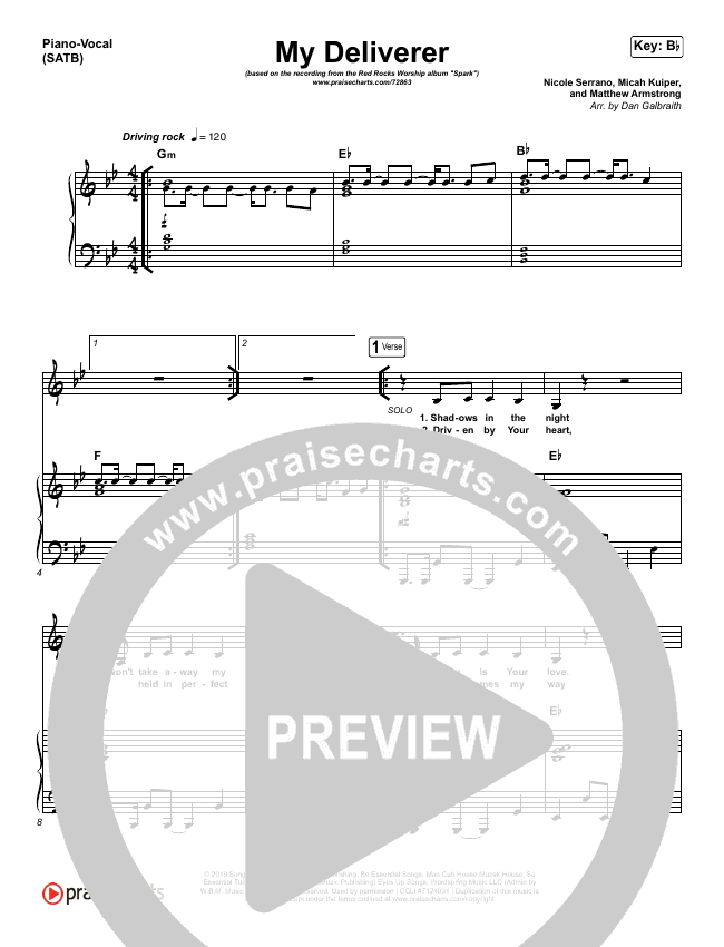 My Deliverer Piano/Vocal (SATB) (Red Rocks Worship)
