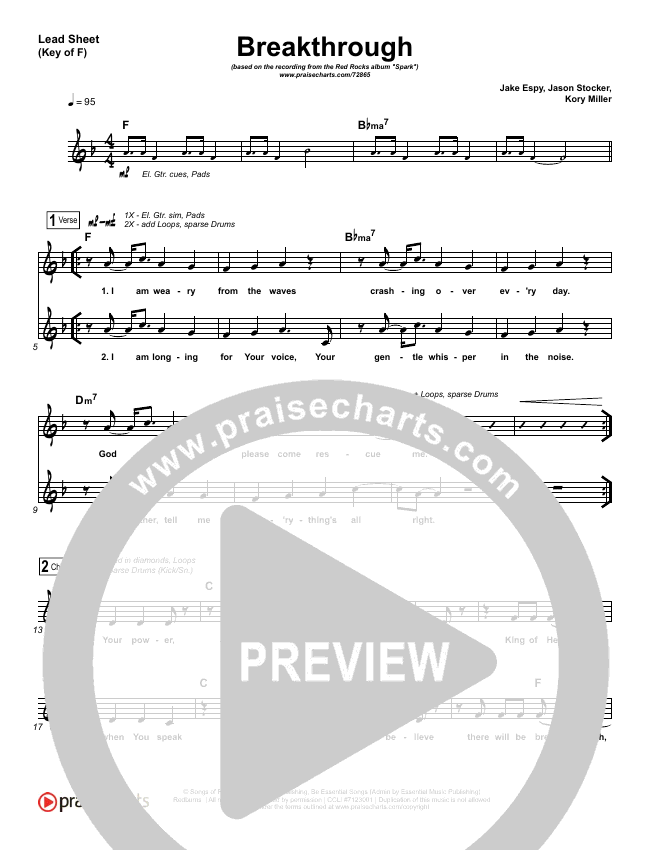 Breakthrough (Live) Lead Sheet (Melody) (Red Rocks Worship)