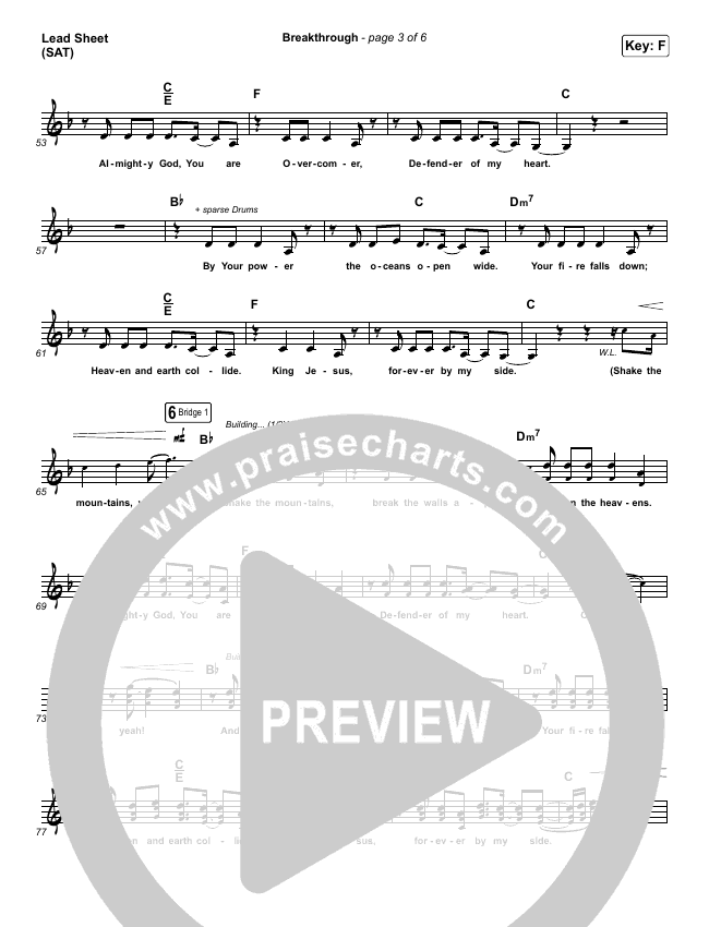 Breakthrough (Live) Lead Sheet (SAT) (Red Rocks Worship)