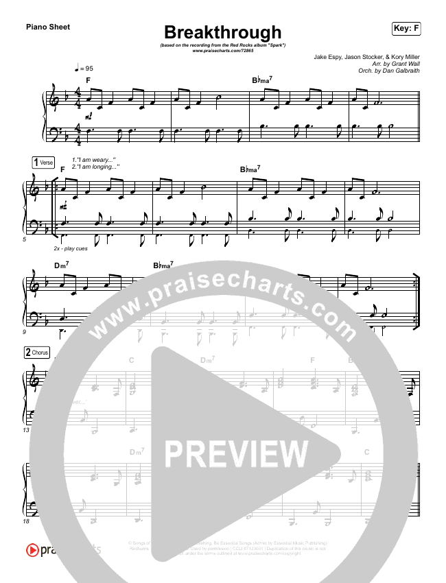 Breakthrough (Live) Piano Sheet (Red Rocks Worship)