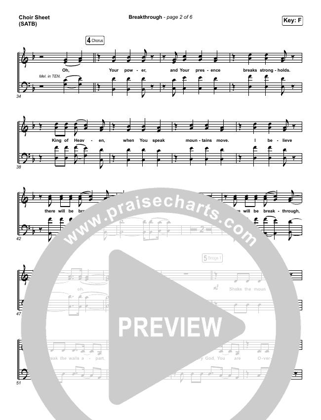 Breakthrough (Live) Choir Sheet (SATB) (Red Rocks Worship)