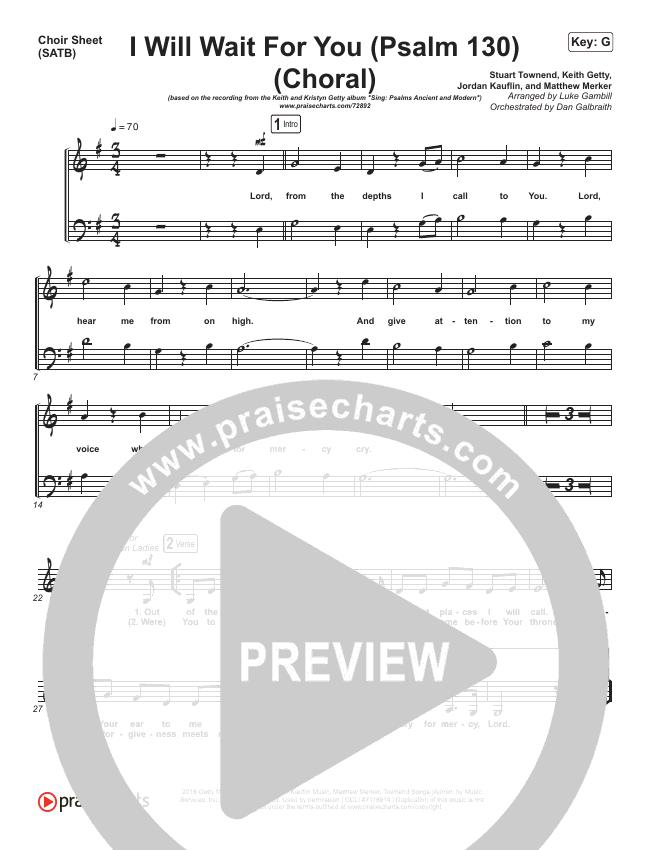 I Will Wait For You (Psalm 130) (Choral) Choir Sheet (SATB) (PraiseCharts Choral / Keith & Kristyn Getty)