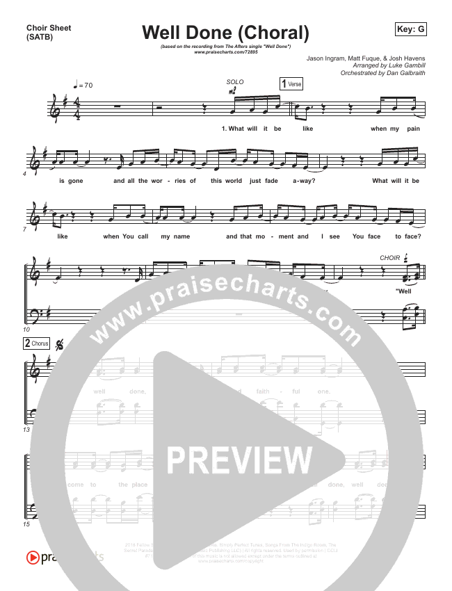 Well Done (Choral) Choir Sheet (SATB) (PraiseCharts Choral / The Afters)