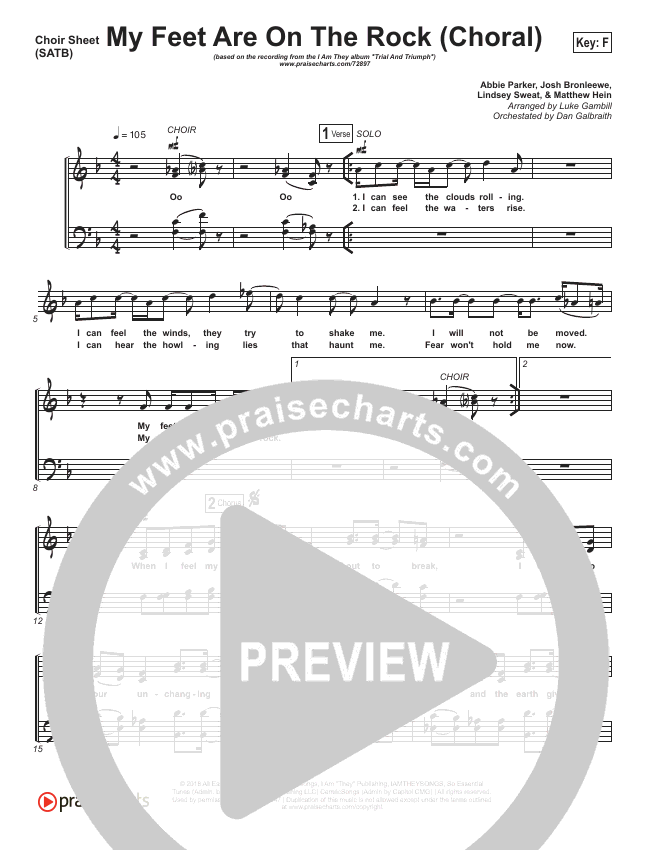 My Feet Are On The Rock (Choral) Choir Sheet (SATB) (PraiseCharts Choral / I Am They / Arr. Luke Gambill)