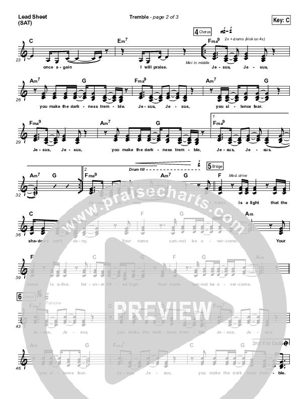 Tremble (Choral) Lead Sheet (SAT) (PraiseCharts Choral / Mosaic MSC / Arr. Luke Gambill)