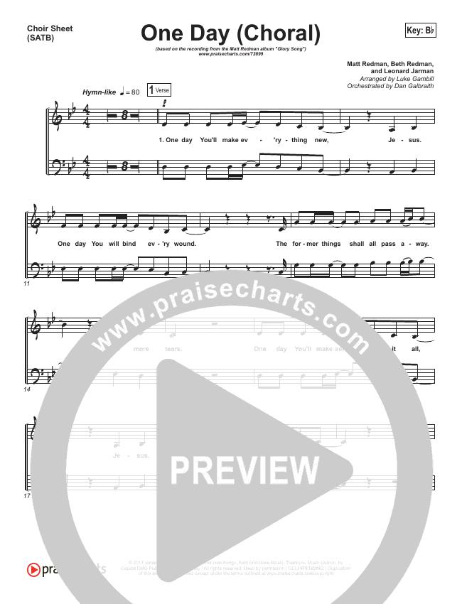 One Day (When We All Get To Heaven) (Choral) Choir Sheet (SATB) (PraiseCharts Choral / Matt Redman)