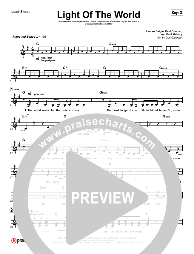 Light Of The World (Choral) Lead & Piano/Vocal (PraiseCharts Choral / Lauren Daigle / Arr. Luke Gambill)