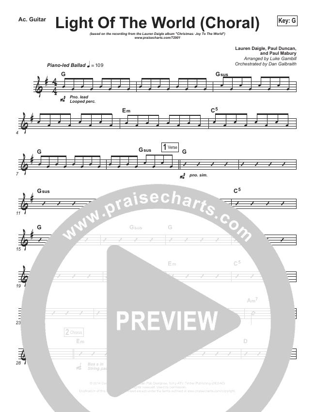 Light Of The World (Choral) Rhythm Chart (PraiseCharts Choral / Lauren Daigle / Arr. Luke Gambill)