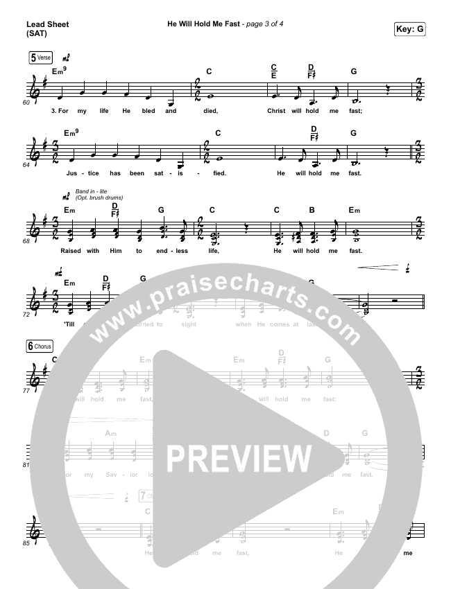 He Will Hold Me Fast (Choral) Piano/Vocal Pack (Choral) (PraiseCharts Choral / Keith & Kristyn Getty / Arr. Luke Gambill)