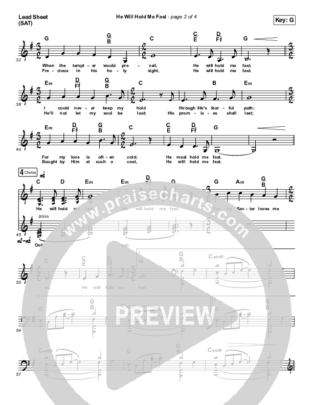 He Will Hold Me Fast (Choral) Lead Sheet (SAT) (PraiseCharts Choral / Keith & Kristyn Getty / Arr. Luke Gambill)