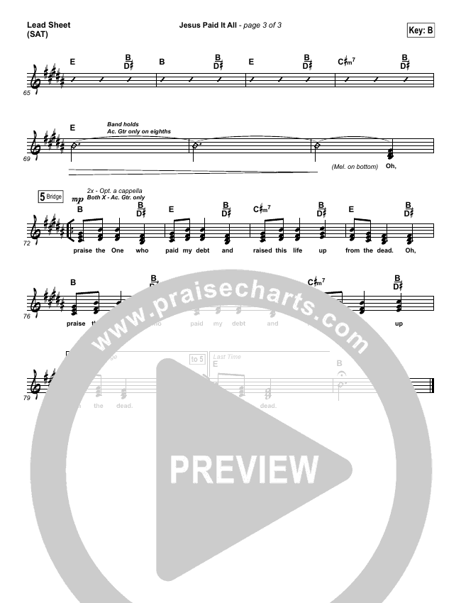Jesus Paid It All (Choral) Piano/Vocal (SATB) (PraiseCharts Choral / Passion / Kristian Stanfill)
