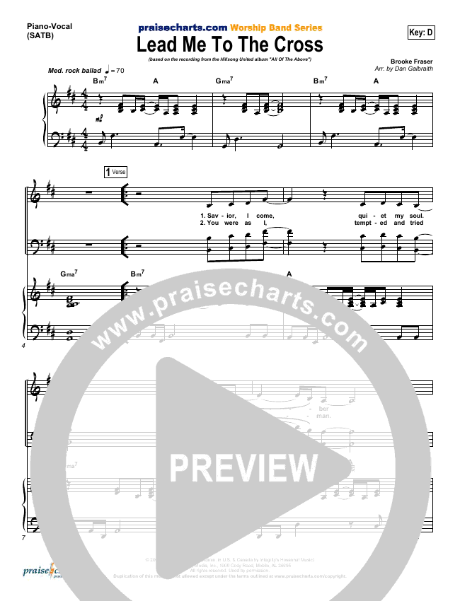 Lead Me To The Cross (Choral) Lead & Piano/Vocal (PraiseCharts Choral / Hillsong UNITED)