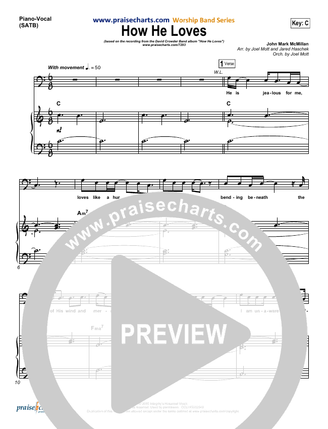 How He Loves (Radio) Piano/Vocal (SATB) (David Crowder)