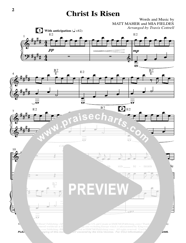 Christ Is Risen (Choral) Piano Vocal (Brentwood-Benson Choral / Arr. Travis Cottrell, Daniel Semsen)