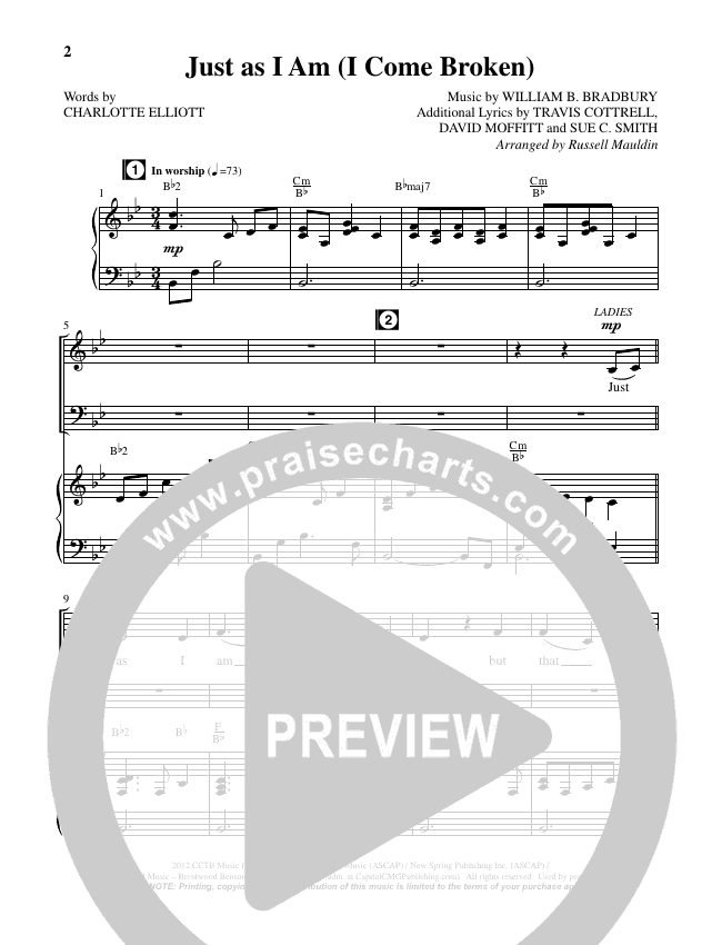 Just as I Am (I Come Broken) (Choral) Piano Vocal (Brentwood-Benson Choral / Arr. Russell Mauldin)