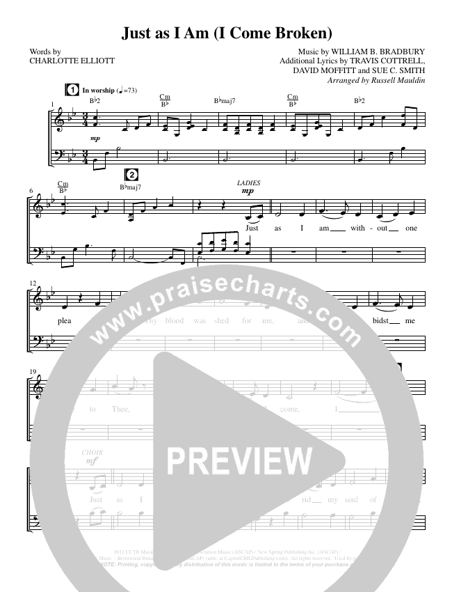 Just as I Am (I Come Broken) (Choral) Choir Sheet (SATB) (Brentwood Benson Choral / Arr. Russell Mauldin)