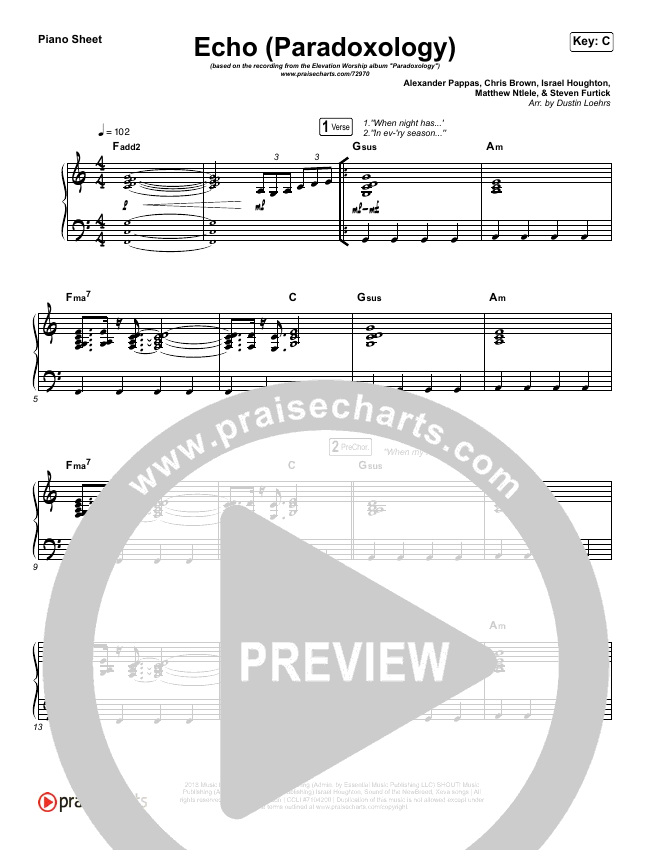 Echo (Paradoxology) Piano Sheet (No Vocals) - Elevation Worship