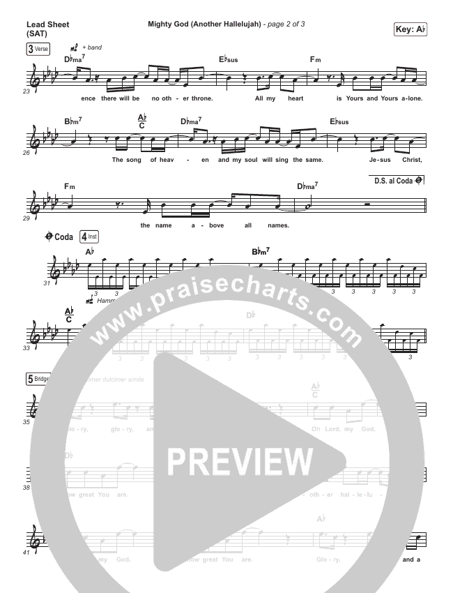 Mighty God (Another Hallelujah) (Paradoxology) Lead Sheet (SAT) (Elevation Worship)