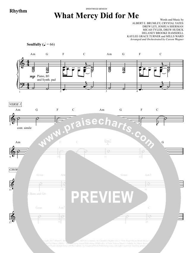 What Mercy Did For Me (Choral) Orchestration (Brentwood Benson Choral / Arr. Carson Wagner)