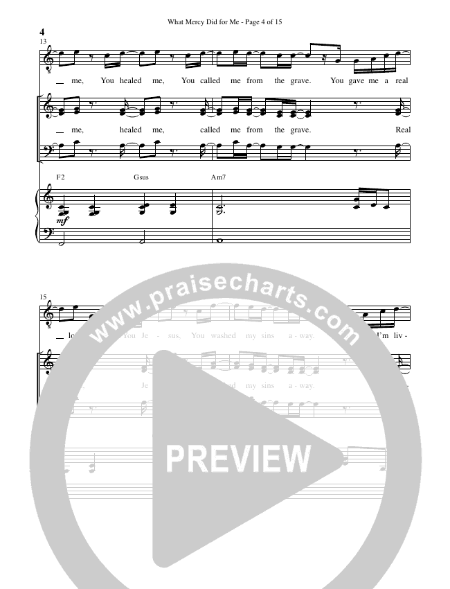 What Mercy Did For Me (Choral) Piano Vocal (Brentwood Benson Choral / Arr. Carson Wagner)