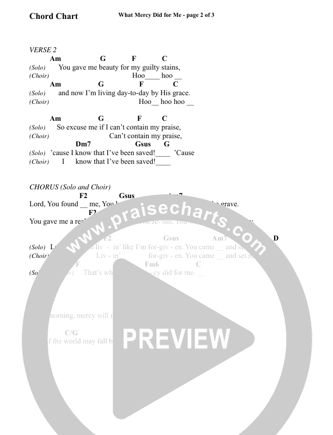 What Mercy Did For Me (Choral) Chord Chart (Brentwood Benson Choral / Arr. Carson Wagner)