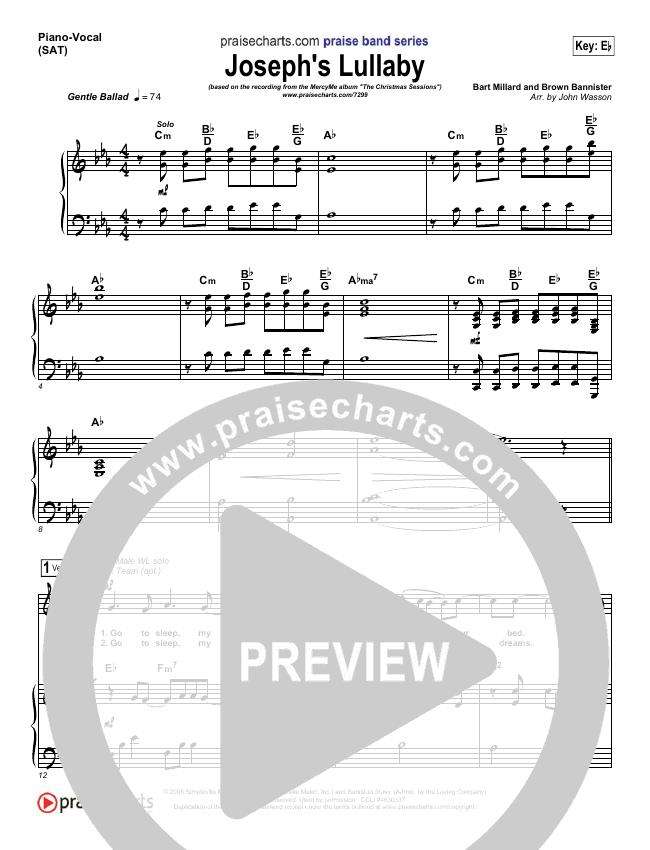 Joseph's Lullaby Piano/Vocal (SATB) (MercyMe)