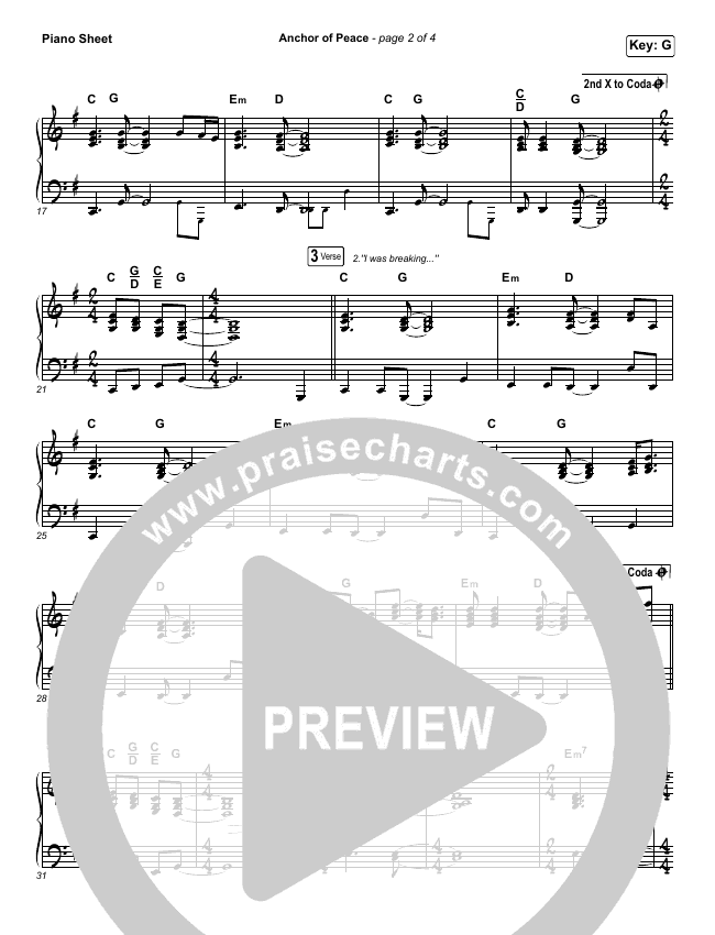 Anchor Of Peace Piano Sheet (North Point Worship / Desi Raines)