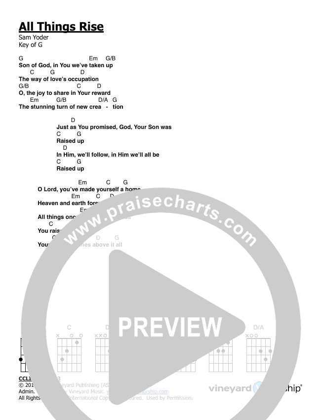 All Things Rise Chord Chart (Vineyard Music UK)