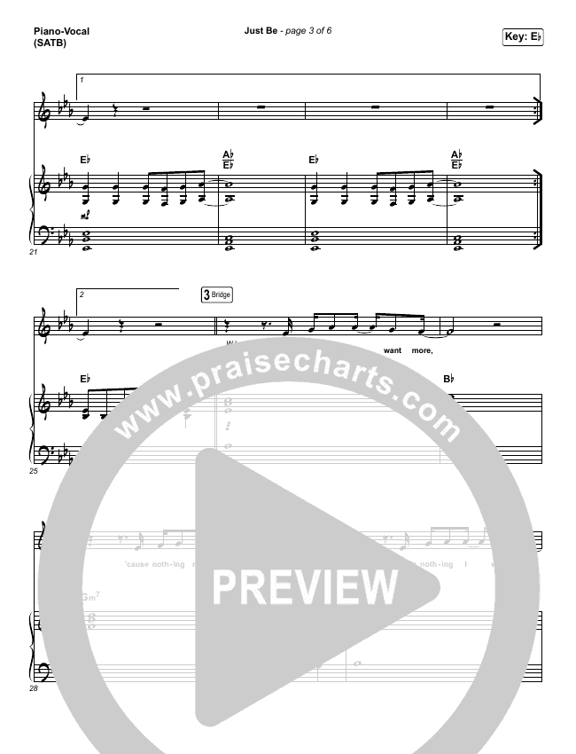 Just Be Piano/Vocal (SATB) (Kim Walker-Smith)