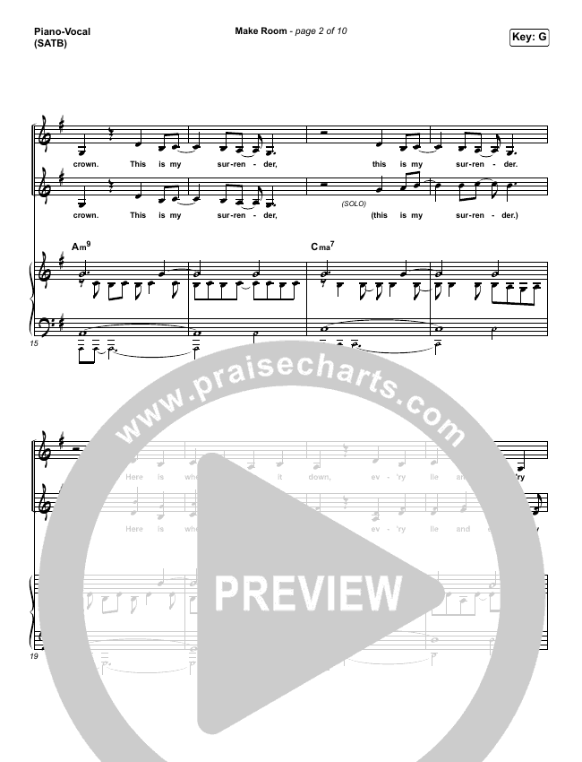 Make Room (Live) Piano/Vocal (SATB) (Community Music)