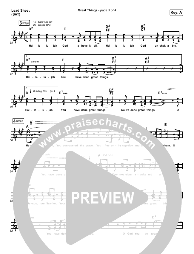 Great Things (Live) Lead Sheet (SAT) (Phil Wickham)