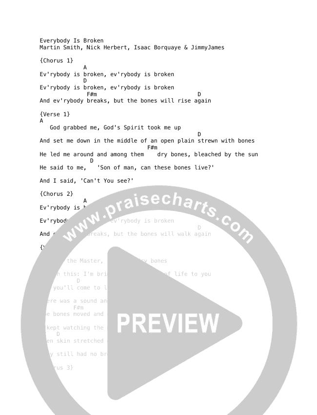 Everybody Is Broken Chord Chart (Martin Smith)