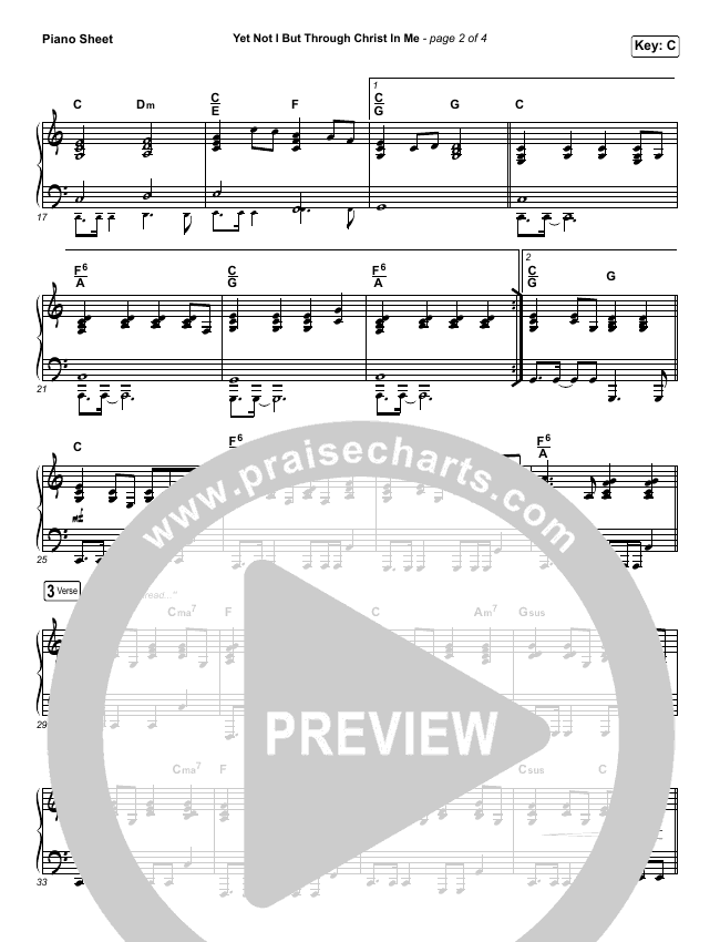 Yet Not I But Through Christ In Me Piano Sheet (CityAlight)