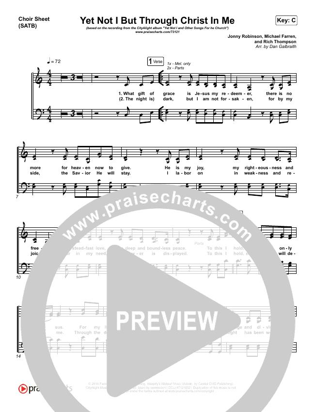 Yet Not I But Through Christ In Me Choir Sheet (SATB) (CityAlight)