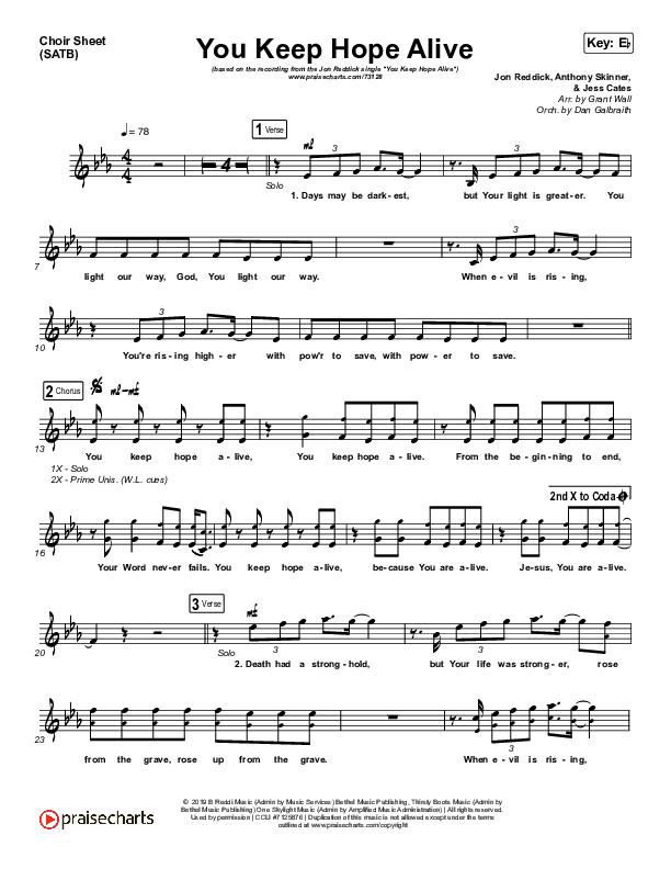 You Keep Hope Alive Choir Sheet (SATB) (Jon Reddick)
