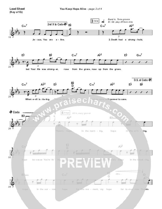 You Keep Hope Alive Lead Sheet (Melody) (Jon Reddick)
