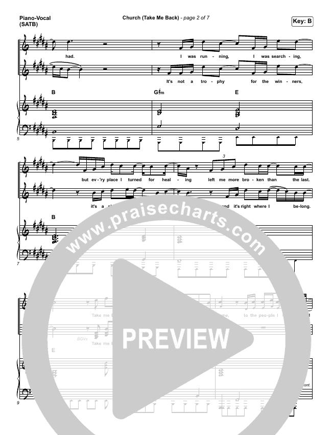 Church (Take Me Back) Piano/Vocal (SATB) (Cochren & Co)