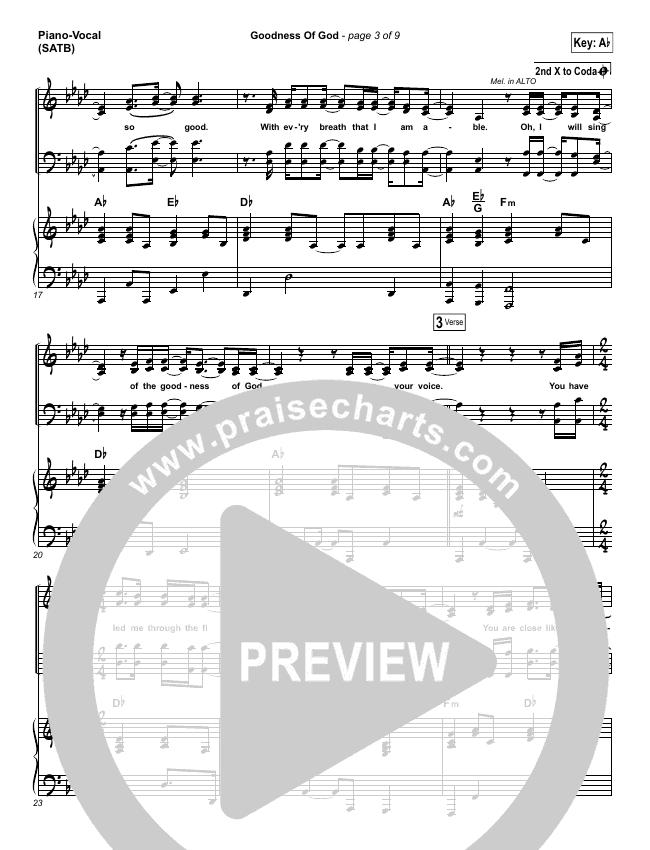 Goodness Of God Piano/Vocal (SATB) (Shane & Shane/The Worship Initiative)