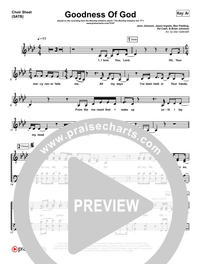 Goodness Of God Choir Sheet (SATB) (Shane & Shane/The Worship Initiative)