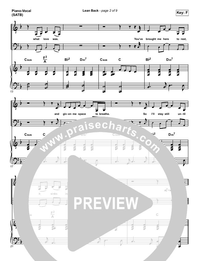 Lean Back Piano/Vocal (SATB) (Shane & Shane/The Worship Initiative)