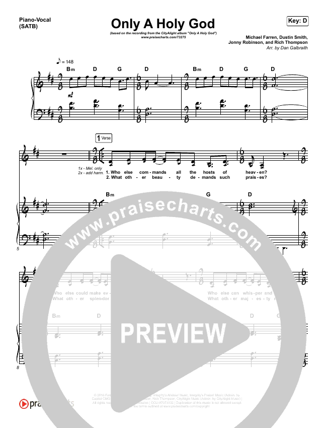 Only A Holy God Piano/Vocal (SATB) (CityAlight)