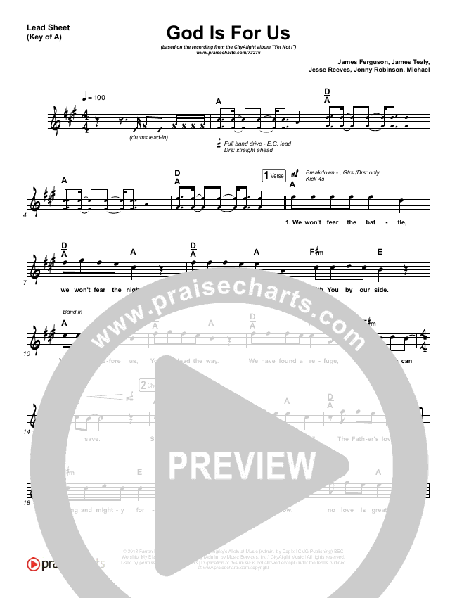 God Is For Us Lead Sheet (Melody) (CityAlight)
