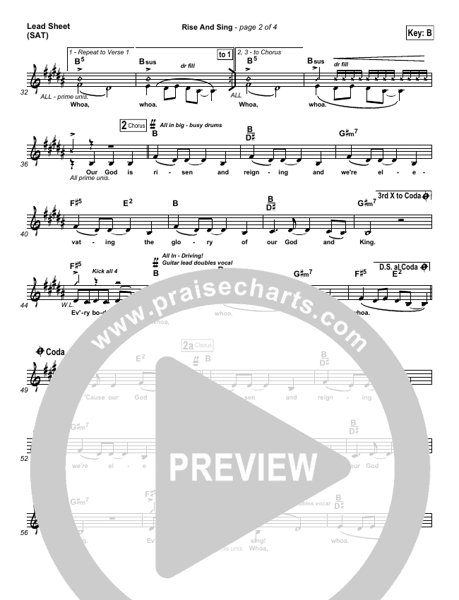Rise And Sing Lead & Piano/Vocal (FEE Band)