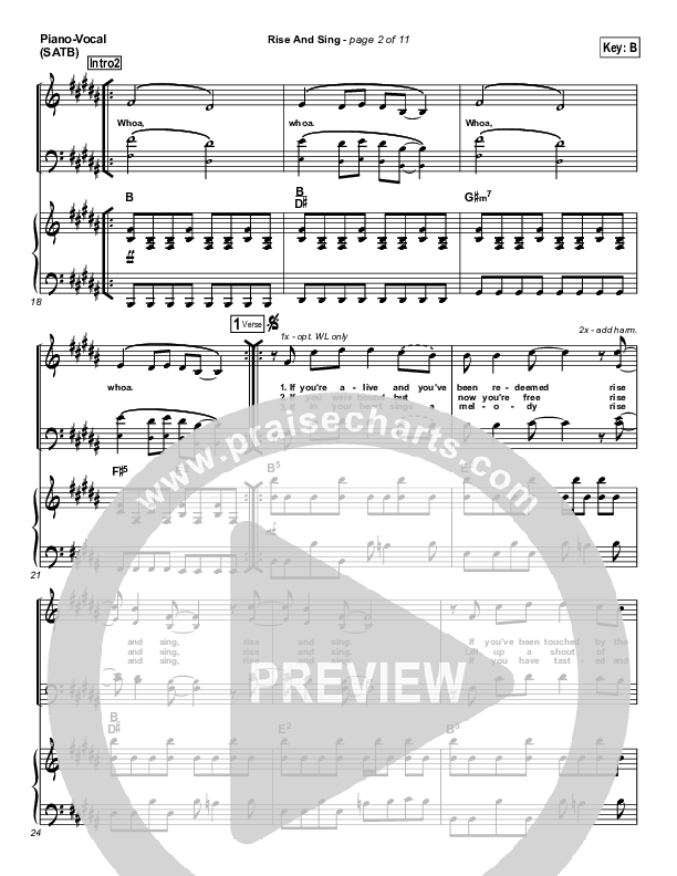 Rise And Sing Piano/Vocal (SATB) (FEE Band)