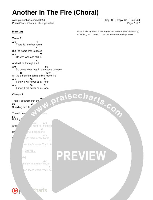 Another In The Fire (Choral) Chords & Lyrics (PraiseCharts Choral / Hillsong UNITED)